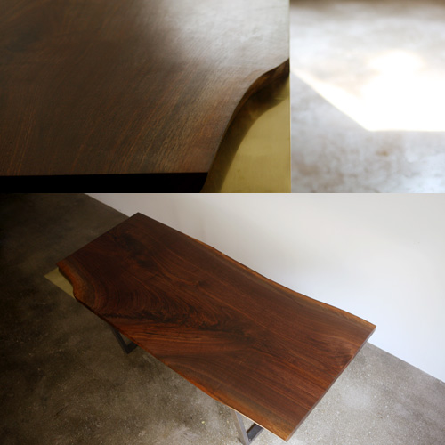 brass plated woodslab table
